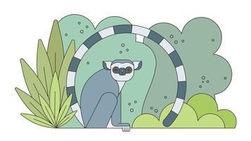 Vettore di lemure madagascar