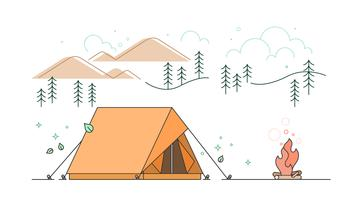Mountains Tent Vector
