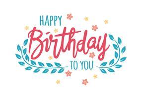 Feliz aniversário tipografia ilustração vetorial