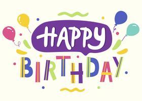 Joyeux anniversaire, typographie, vecteur