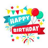 Feliz aniversario cartão comemorativo vetor