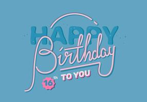 Happy Birthday Vintage Lettering Vector