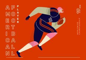 Amerikaanse voetbal karakter platte vectorillustratie