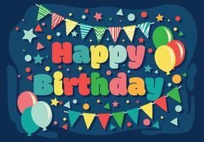 Feliz cumpleaños tipografía vector