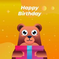 Happy Birthday Greeting Card With Funny Childish Bear Illustration