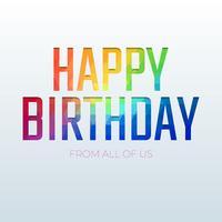 Tipografía geométrica colorida mínima del feliz cumpleaños en fondo simple