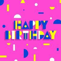Gelukkige verjaardag geometrische eenvoudige typografie