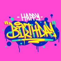 Feliz cumpleaños tipografía grafiti etiquetado estilo