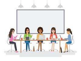 Jovens empresárias reunião