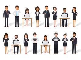 Businessman and businesswoman people in actions. vector