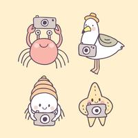 Animais de verão bonito dos desenhos animados no vetor de praia.