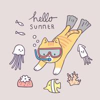 Cartoon cute summer cat diving vector.