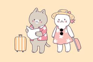 Vector lindo del viaje de los gatos del verano de la historieta.