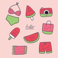 Cartoon cute summer sweet element vector.