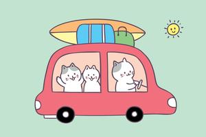 Cartoon cute summer family cat travel vector.
