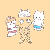 Nette Sommerkatzen der Karikatur auf Strandvektor.