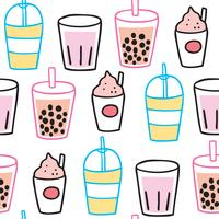 Cartoon cute summer drink seamless pattern vector. vector