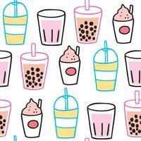 Cartoon cute summer drink seamless pattern vector.