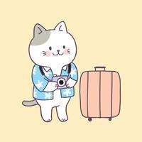 Vector lindo del viaje del gato del verano de la historieta.