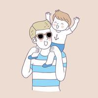 Vector lindo del padre y del muchacho de la historieta.