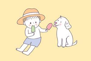 Tecknad söt sommar pojke och hund och glass vektor.
