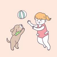 Tecknad söt sommar tjej och hund spelar vektor.