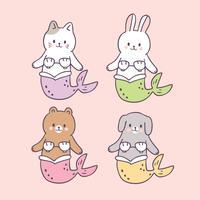 Cartoon cute summer mermaids vector.
