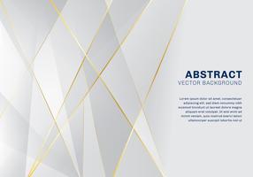 Estratto del modello poligonale di lusso su sfondo bianco e grigio con linee dorate.