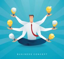 businessman sitting in lotus pose meditation with light bulb. concept of creative thinking.