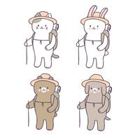 Vettore backpacking del gatto sveglio di estate del fumetto.