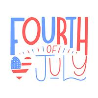 Cute Lettering About Fourth Of July With Heart vector