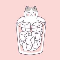 Cartone animato carino estate gatto e acqua fredda vettoriale.