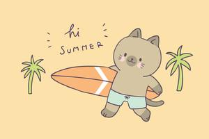 Cartoon cute summer cat and surfing vector. vector