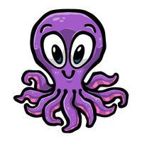 Tecknad film söt bläckfisk illustration