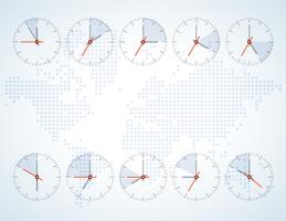 Image of a wall clock on a background map  vector