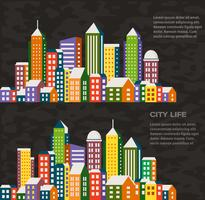 Stad i en platt stil