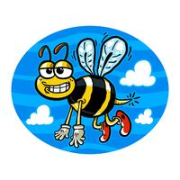 Vector illustration of a cute smiling flying bumblebee.