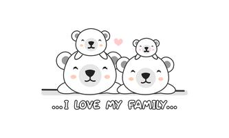 "Cute happy polar bear  family say ""I love my family""."