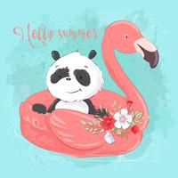 Illustration of a greeting card or a princess for a children's room - a cute panda on an inflatable circle in the form of a flamingos, vector illustration in cartoon style