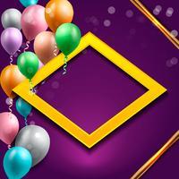 fond de célébration d'anniversaire, fond d'écran ballon