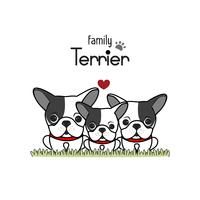 Terrier Dog Family Father Mother and Newborn Baby. vector