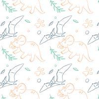 Dibujado a mano patrón de dinosaurio