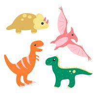 Set de colección de dinosaurios lindos dibujados a mano