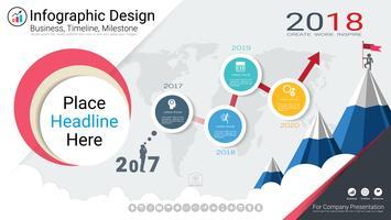 Modelo de infográficos de negócios, cronograma milestone ou roteiro com opções de fluxograma de processo 4.