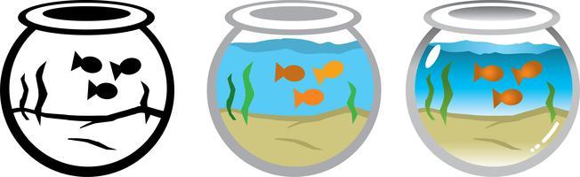 Ilustración vectorial de peces de colores en una pecera redonda