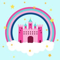 Castle Princess Over Clouds With Rainbow And Stars