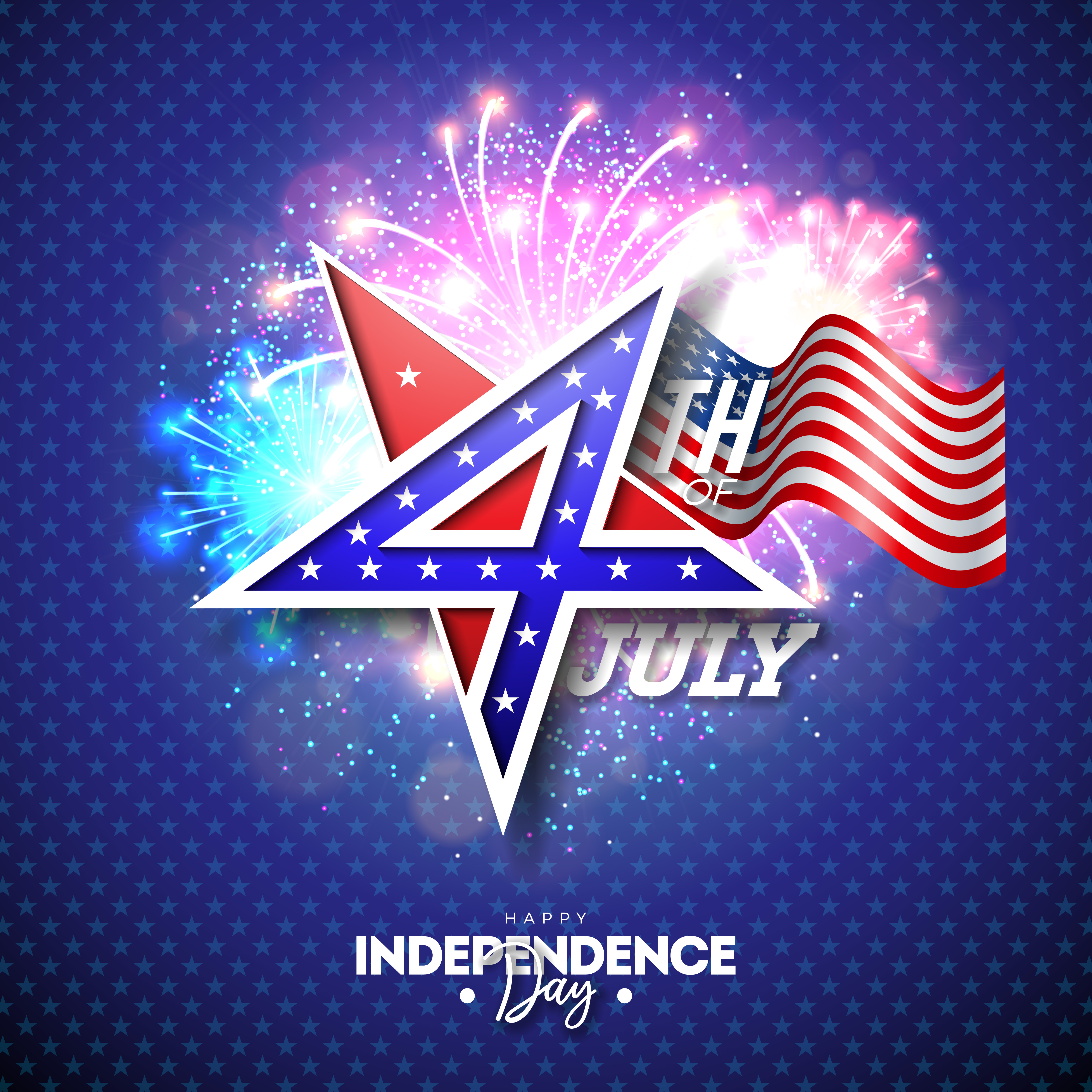 4th of July Independence Day of the USA Vector Illustration with 4 ...