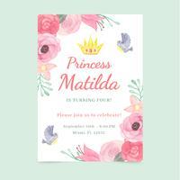 Aquarel prinses uitnodiging met bloem en vogels