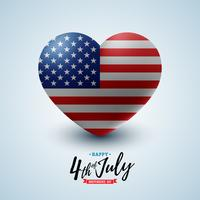 4 de julho dia da independência dos EUA Vector a ilustração com a bandeira americana no coração. Projeto nacional da celebração do quarto de julho