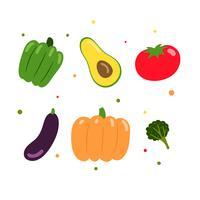 Collection de jeu de légumes de vecteur
